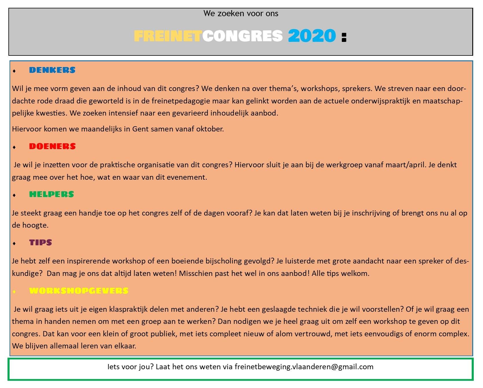 Welkom op werkgroep freinetcongres @ Freinetschool De Vlieger | Gent | Vlaanderen | België